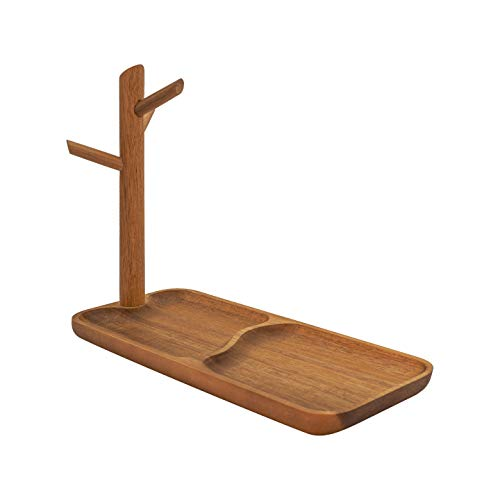 THE BASIC LIVING Solid Wood Jewelry Tray, Trinket Dish Mid Century Modern Catchall Tray Jewelry Stand Hanging Organizer, Home Decor Key Tray Ring Holder - Acacia (Wood Jewelry Trinket)