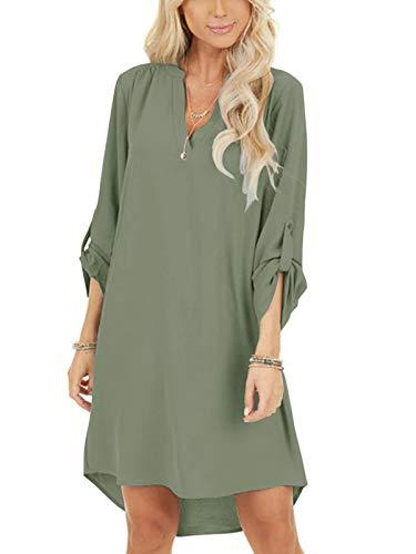 YOINS Damen Kleider Tshirt Kleid Sommerkleid für Damen Brautkleid Langarm Minikleid Kleid Langes Shirt V-Ausschnitt Lose Tunika mit Bowknot Ärmeln Armee Grün XL