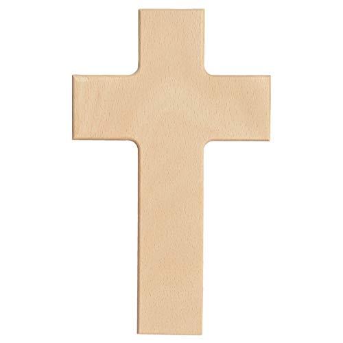 Piccolino Bastelbedarf Blanko Wandkreuz aus Holz - Kreuz zum Bemalen & Gestalten, Buche Natur, leicht abgeschrägte Kanten 20x12cm