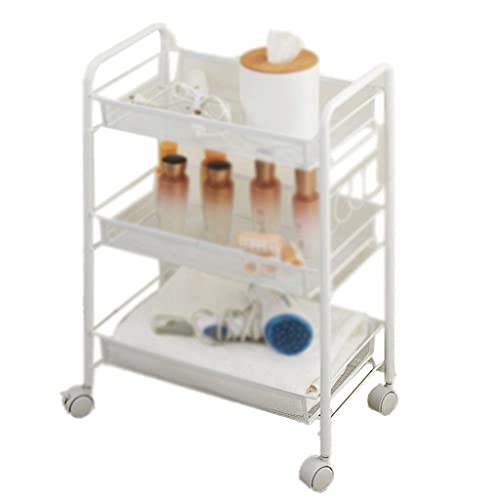 GAXQFEI Foyer Rack 3-Tier Storage Trolleys, Metal Mesh Kitchen Rolling Cart for Narrow Spaces Utility Cart Small Apartment Living Room Book Shelves for Storage,White,45 * 26 * 63Cm