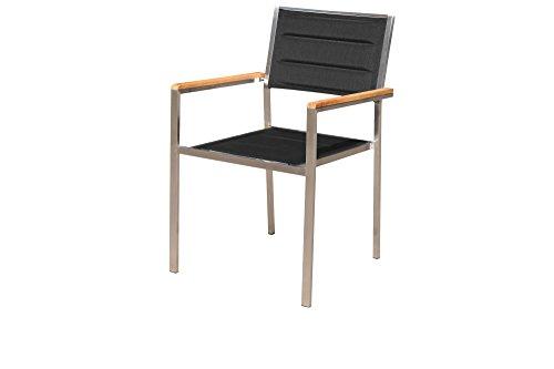 OUTFLEXX moderner Stapelstuhl in schwarz, aus rostfreiem Edelstahl, Sitzfläche aus Textilene und Armlehnen aus hochwertigem Teakholz, ca. 62 x 56,5 x 86 cm, Holzstuhl, Sessel, wetterfest