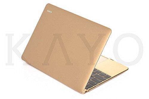 MacBook 12inch Caso, Kayo essentials-for Macbook 12con Retina Display A1534(nueva versión 2016/2015) metálico carcasa con suave suave sedoso touch-satin oro