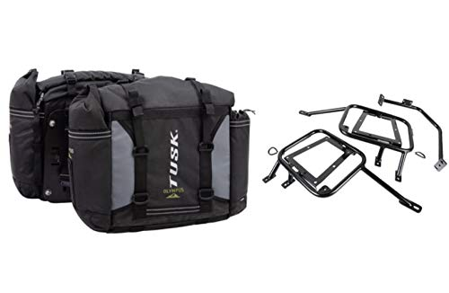 Tusk OLYMPUS Dual Sport Adventure Motorcycle Pannier Bags with Tusk Racks - Fits: SUZUKI DR650 S SE 1996-2020