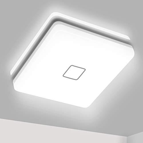 Plafon LED Techo Cuadrado, Airand 24W Lámpara Techo LED de Color Blanco Frío 5000K, Luz de Techo LED 2050LM Brillante Eficiente Energía Impermeable IP44, Para Baño, Cocina, Dormitorio y Comedor