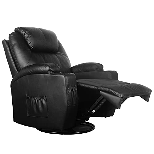 Polar Aurora Massage Recliner Chair Heated PU Leather Rocker Recliner Ergonomic Lounge Vibratory Massage function/360 Degree Swivel/Cup Holders/Heating/Remote Control for Living Room(Bk)