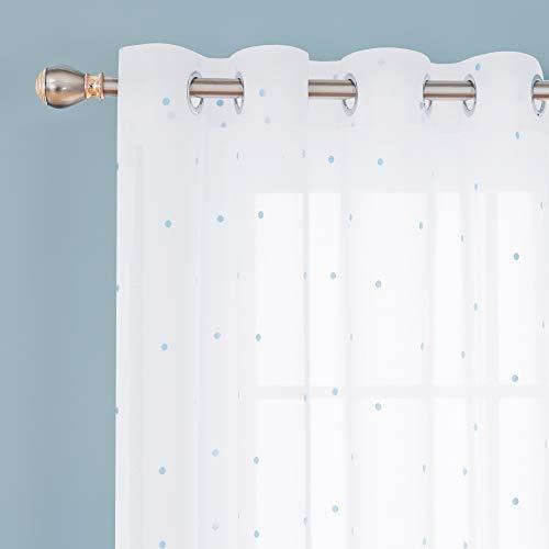 Deconovo Visillos para Ventanas Dormitorio Cortina Translúsida Salón con Ojales 1 Pieza 140 x 280 cm Azul Lunares