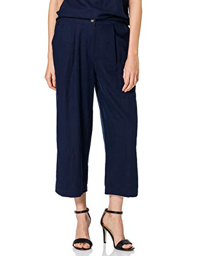 MERAKI Pantalón Chino de Lino Mujer, azul (marino), 38, Label: S