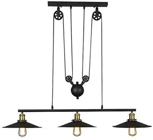 Lámpara de araña Industrial Negra con 3 Luces, lámpara Colgante Colgante Ajustable, Accesorio de iluminación de Metal Vintage para Mesa de Billar, Granja