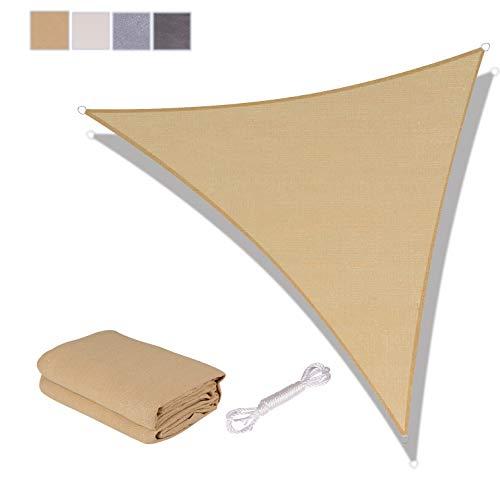 SUNNY GUARD Toldo Vela de Sombra Triangular 3x3x3m HDPE Transpirable protección UV para Patio, Exteriores, Jardín, Color Arena
