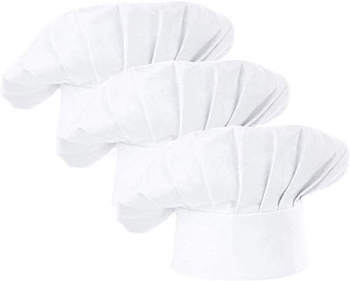 AFYHA Chef Hat, Set of 3 Adult Adjustable Elastic Baker hats, Kitchen Catering Cooking Chef Cap White or Black (White)