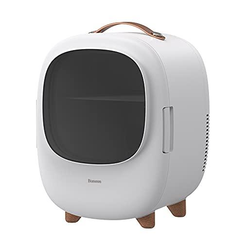 MikeyBee Pequeño mini refrigerador 8L hogar cosméticos de doble uso refrigerador calefacción y refrigeración refrigerador(Blanco)