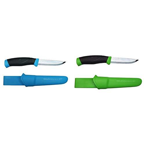 Morakniv Messer - Companion - rostfreier Sandvik Stahl - zweifarbiger Griff - neonfarbene Scheide mit Gürtelclip & rostfreier Sandvik Stahl - zweifarbiger Griff - neonfarbene Scheide mit Gürtelclip