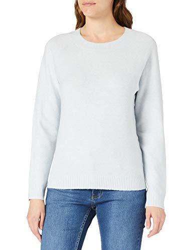 VERO MODA Damen Vmdoffy Ls O-Neck Blouse Ga Noos Pullover, Blue Fog/Detail:MELANGE, L