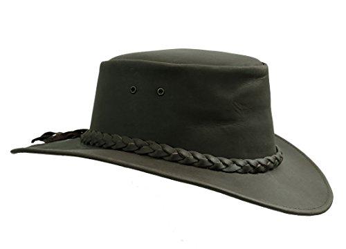 Kakadu Traders Australia Kakadu Traders Lederhut Nullarbor schwarz geflochtenes Hutband geschwungener Krempe   Herren Damen Größe S- 2.Wahl