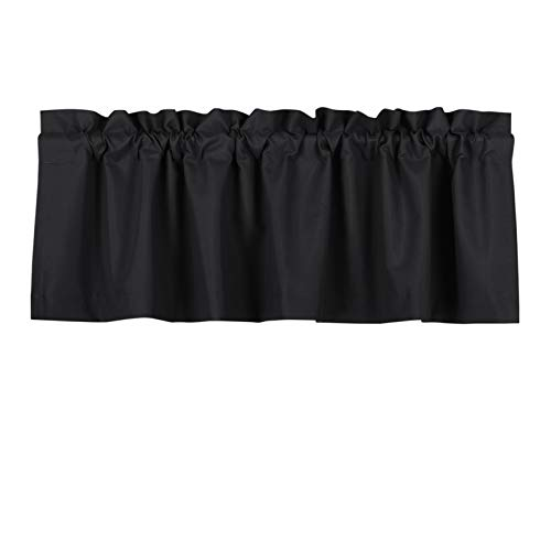 Valea Home Blackout Valance Curtains Waterproof Soft Rod Pocket Valance for Kitchen and Bathroom Window Room Darkening Valances for Bedroom, 52 inch x 18 inch, Black