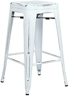 Office Star Bristow Antique Metal Barstool, 26-Inch, Antique White, 4-Pack
