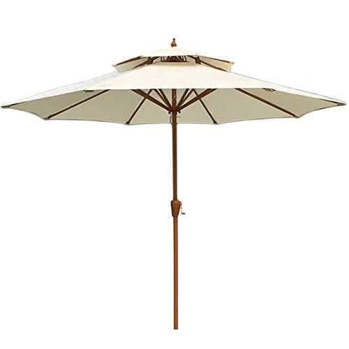 Sombrillas Parasol Jardin 2 Niveles Grano de Madera Patio con Manivela Y 8 Costillas Resistentes, Parasol Grande para Jardín Al Aire Libre, Balcón Y Piscina (Color : Beige-White)