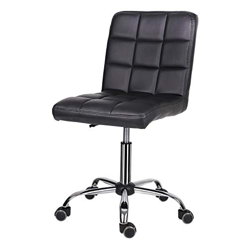 EUCO Desk Chair,Black Leather Office Chair Comfy Padded Computer Chair Adjustable Height Swivel Chair with Chrome Base,Home/Office Furniture
