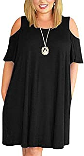 Kancystore Women Plus Size Dresses Short Sleeve Cold Shoulder Casual T-Shirt Swing Dress with Pockets