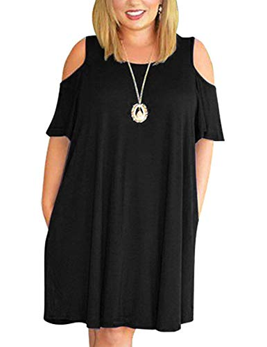 Kancystore Womens Plus Size Summer Cold Shoulder Tunic Top Swing T-Shirt Loose Dress with Pockets Black