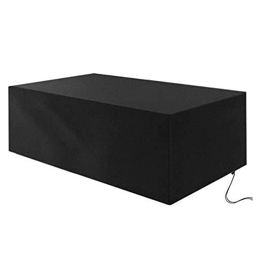 Fundas para muebles de patio 170 * 95 * 70 cm, fundas de mesa para exteriores 420D Oxford resistente, fundas para juegos de patio con cordón ajustable, impermeable, resistente al viento, para exteri