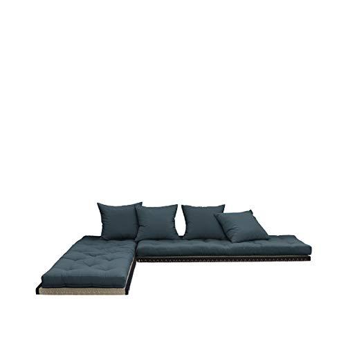 Karup Design Chico Schlafsofa 3 sitzer Futon Schlafcouch Im Natur Holz Sofa Mit Schlaffunktion und Petroleum Blau Matratze 140x200. 2-Sitzer Bettsofa entworfen in Dänemark.