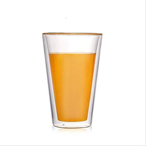 Theekopjes,Dubbelwandige Warmte-isolatie Glazen Koffiemok Cappuccino Latte Koffie Melk Zwarte Theekopjes Huishoudelijk Transparant Bier Wijnglas 300ml A