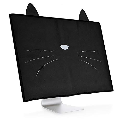 """kwmobile Cover Compatibile con 20-22"""" Monitor - Protezione Cover per Monitor PC Antipolvere per Schermo Computer - Custodia Protettiva - Muso Felino Bianco/Nero"""