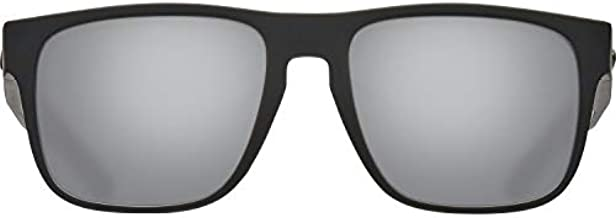 Costa Del Mar Men's Spearo Square Sunglasses, Blackout/Grey Silver Mirrored Polarized 580G, 56 mm