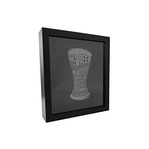"Beer Bottle Cap Holder Shadow Box - Black Top Loading Display Frame 13"" x 11"" x 2.75"", Cap Collector, Best Gift for Beer Lover"