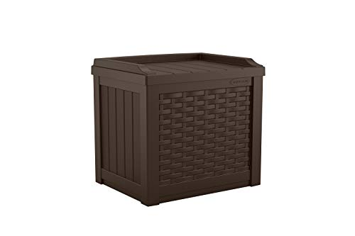 Suncast Patio Storage 48 Gal Weather-Resistant Adjustable Shelf Resin Brown