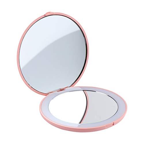 DOITOOL Reise Make-Up Spiegel Tragbare LED Beleuchteten Spiegel Faltbaren Kompakten Kosmetikspiegel mit 10 Vergrößerung für Geldbörse Tasche Rosa