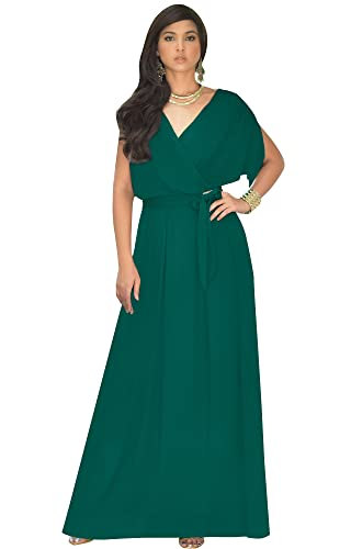 KOH KOH Plus Size Womens Long Semi-Formal Short Sleeve V-Neck Full Floor Length V-Neck Flowy Cocktail Wedding Guest Party Bridesmaid Maxi Dress Dresses Gown Gowns, Emerald Green L 12-14