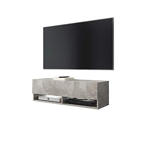 Vandring – TV-skåp/TV-bänk i betongutseende matt hängande med LED Rgb och ljusväxlingsfunktion 100 cm