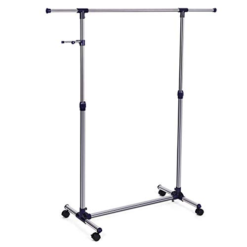 SONGMICS Perchero Extensible con Ruedas, de metal, 150 x 44 x 165 cm, azul LLR01L