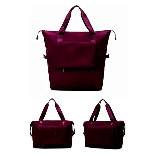 Borsone pieghevole da viaggio, leggero e impermeabile, per sport e fitness, da viaggio, borsa pieghevole da viaggio, Rosso, 0,