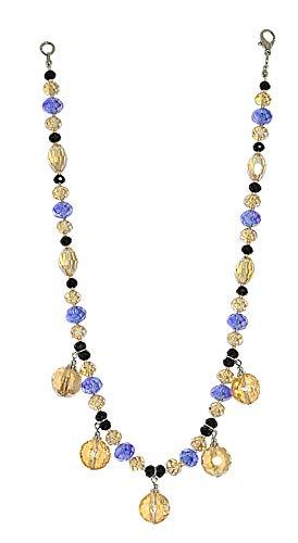 MAKEDA BLUE - Collana girocollo, made in Italy, in cristallo Topazio light, Nero e Zaffiro, con 5 pendenti tondi, diametro mm. 12, chiusura a moschettone in metallo argentato, lunghezza cm. 45