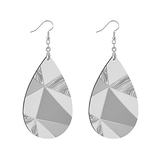 Pendientes de madera de moda gota colgantes ligeros lágrima pendientes forma gota pendiente para las mujeres joyería zara mármol metálico suave gris plata