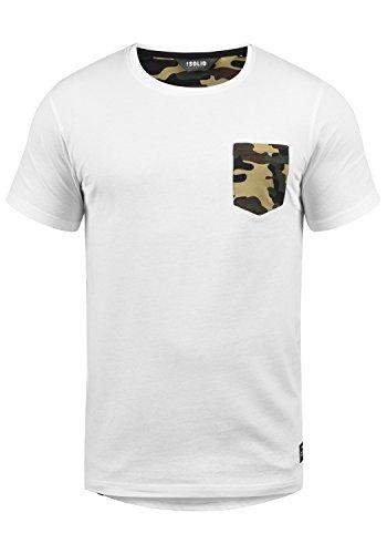 !Solid Calvin Herren T-Shirt Kurzarm Shirt mit Rundhalsausschnitt und Camouflage-Brusttasche, Größe:M, Farbe:White Dusty (D0001)