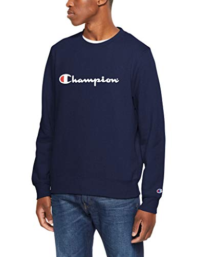 Champion Men's Script Crew Pullover Sweat, Navy, Medium
