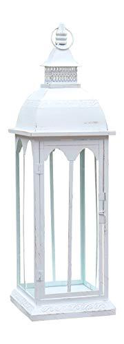 Grafelstein Laterne BJORDAL Creme weiß aus Metall mit wunderschönen Bordüren - 77cm