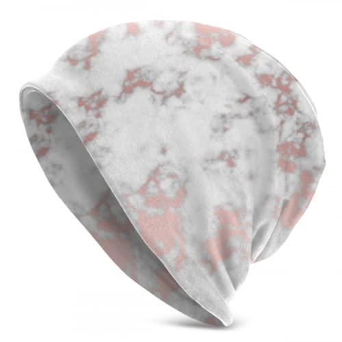 Zemivs Vector Marble Rose Gold Textur Strick Wintermütze Kinder Strickmützen Für Jungen Damen Strickmützen Wandern Totenkopfmütze 3D Gedruckt Erwachsene Comfortbale Soft