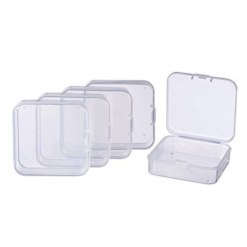 BENECREAT 18 Pack Caja de Almacenamiento de Cuentas con Tapas Abatibles para Articulos, Pastillas, Hierbas, Cuentas Pequeñas, Joyería y Otros Articulos Pequeños 6.4x6.4x2cm