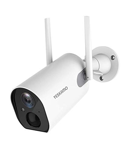 YESKAMO Cámara de Vigilancia de Batería Interior/Exterior Inalámbrica 10400mAh HD 1080P Cámara IP WiFi con Detección de Movimiento Audio Bidireccional para Seguridad en El Hogar