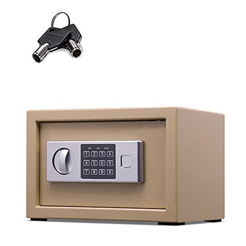 GQTYBZ Caja de Seguridad Digital, Caja Fuerte de Seguridad con Cerradura con Llave de Seguridad, Caja Fuerte de Acero Antirrobo a Prueba de Fuego, para el Hogar/Negocios/Oficina/Hotel/Dinero