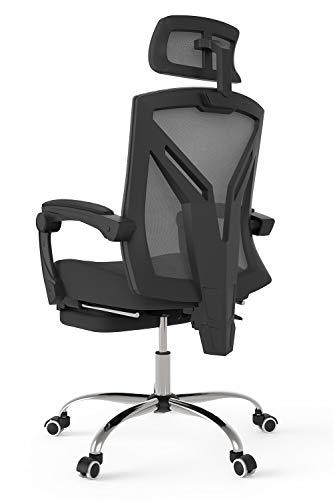 Hbada Bürostuhl ergonomischer Drehstuhl mit Fußstütze Chefsessel mit hoher Rückenlehne Schreibtischstuhl mit verstellbare Kopfstütze und Armlehnen Schwarz