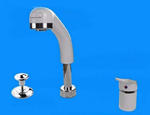 Bosch wastafelarmatuur, demonteerbaar, badkamermeubel gedeeld wastafel met 2 gaten en telescopische douchelade met hendel, wit, B 10 Correas