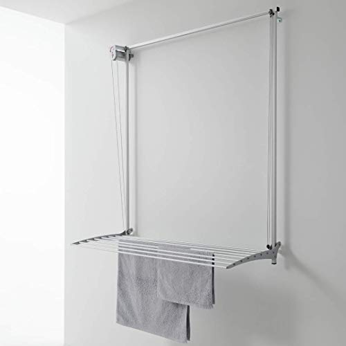 foxydry Wall Tendedero de Pared Vertical, Tendedero Vertical con Deslizamiento Manual en Aluminio y Acero (Gris, 150)