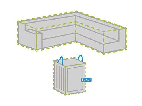 Housse de protection pour salon de jardin en forme de L 300 x 300 cm + housse pour 6-8 coussins