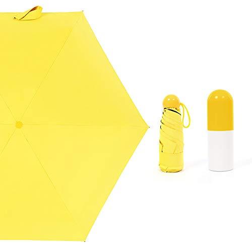 Jiawawa Mini-Regenschirm, faltbar, sehr schützend, leicht, 4 Farben, gelb, standable